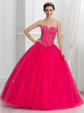 Dramatic Sweetheart Beading Lace Up Tulle Ball Gown Quinceanera Dress