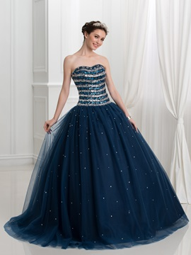 Sweetheart Beading Ball Gown Dark Navy Quinceanera Dress
