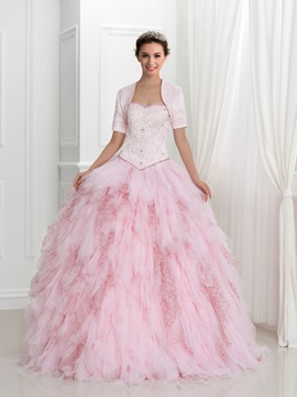 Pretty Beading Tiered Lace Up Ball Gown Quinceanera Dress With Jacket Shawl