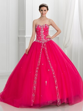 Dramatic Sweetheart Beaded Tulle Lace Up Quinceanera Dress