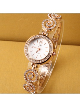 Round Dial With Rhinestone Womens Chain Watch