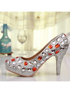 Crystal Round Toe Bridal Shoes