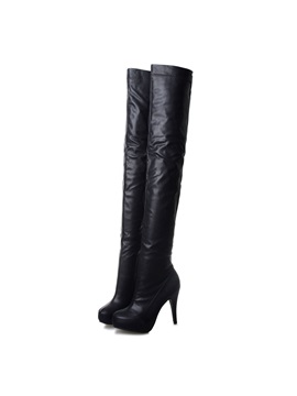 Black Platform Over Knee Boots