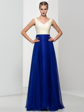 Simple V Neck Pleats A Line Long Prom Dress