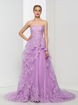 Dramatic Sweetheart A Line Appliques Long Evening Dress