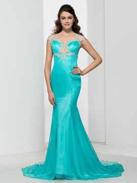 Sheer Neck Appliques Beading Mermaid Evening Dress