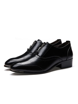 Pointed Toe Front Zip Mens Dress Shoes