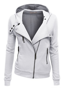 Splendid Sloping Zipper Lapel Hoodie