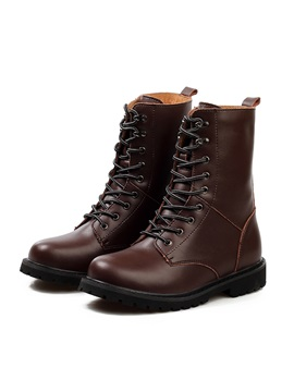 Front Lace Up Round Toe Mens Martin Boots