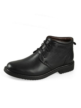Solid Color Round Toe Pu Mens Workboots
