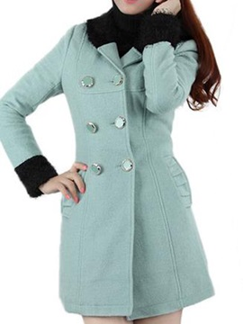 Special Collar And Cuff Slim Overcoat