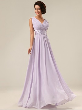 V Neck Empire Waist Floor Length Chiffon Bridesmaid Dress