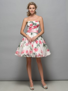 Pretty Strapless A Line Print Cocktail Dress