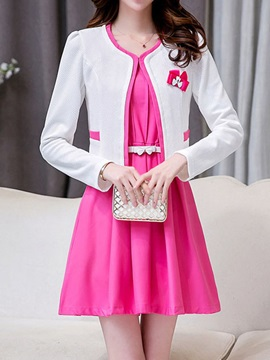 Elegant Sleeveless Dress Open Front Blazer