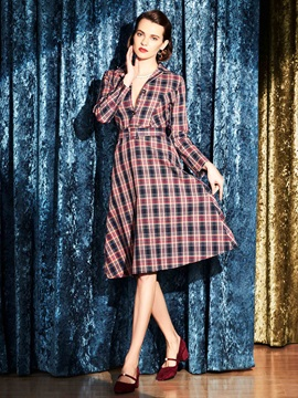 Plaid Turn Down Collar Sleeve Skater Dress
