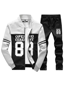 Mens Sports Color Block Stand Color Suits