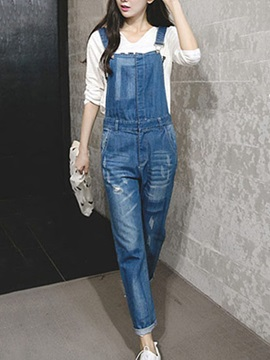 Delicate Denim Frayed Destroy Overall
