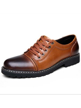 Thread Round Toe Lace Up Mens Dress Shoes