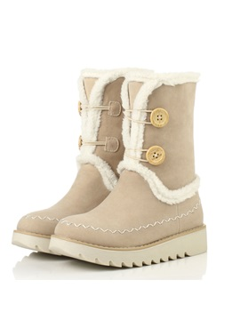 Thread Round Toe Slip On Snow Boots