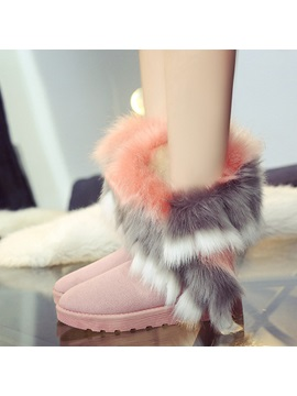Faux Fur Suede Slip On Snow Boots