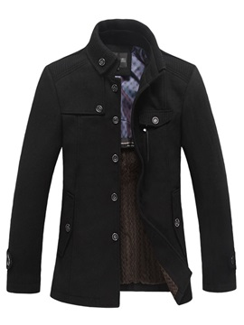 Lapel Solid Color Buttons Pockets Mens Coats