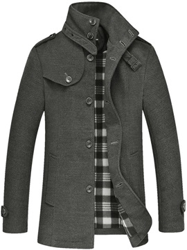 Mens Plain Stand Collar Single Breasted Wool Overcoat