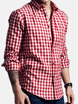 Mens Shoulder Pacthwork Plaid Flannel Long Sleeve Shirt