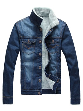 Warm Slim Stand Collar Thicken Mens Denim Jacket
