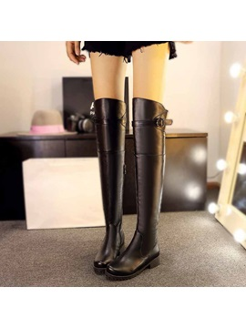 Black Round Toe Slim Knee High Boots