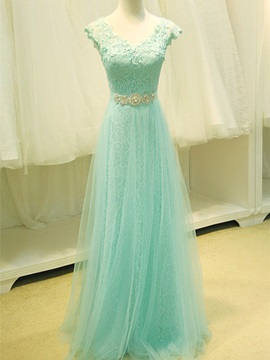 A Line Straps V Neck Lace Crystal Long Prom Dress
