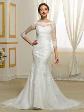 Beading Lace Appliques 3 4 Sleeves Mermaid Wedding Dress