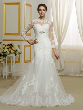 Jewel Neckline Appliques Beading Mermaid Wedding Dress With Long Sleeves