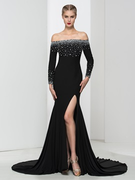 Ladylike Strapless Long Sleeves Beading Black Evening Dress
