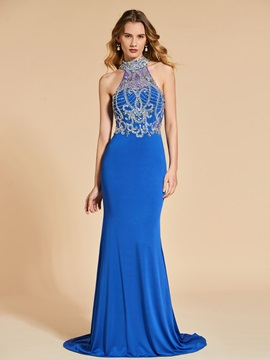 High Neck Mermaid Beading Crystal Sweep Train Evening Dress