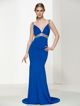 Sexy Backless Beading Straps Mermaid Evening Dress