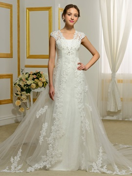 V Neck Appliques Cap Sleeveless A Line Wedding Dress