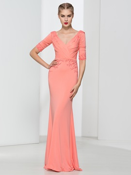 Graceful V Neck Beading Draped Sheath Evening Dress