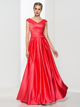 Casual V Neck Pleats A Line Long Prom Dress