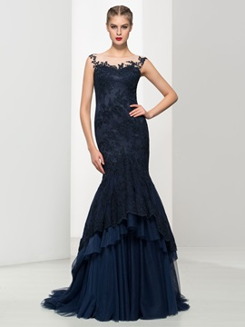 Timeless Scoop Neck Appliques Tiered Tulle Mermaid Evening Dress