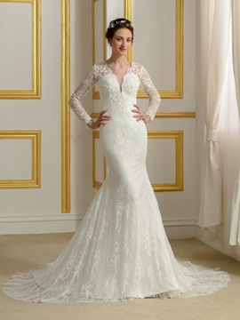 V Neck Long Sleeve Button Mermaid Lace Wedding Dress