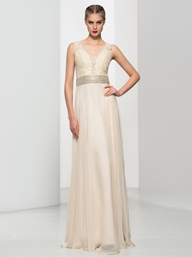 V Neck Beaded Waist Lace A Line Long Evening Dress