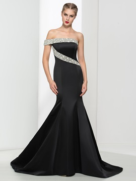 Graceful One Shoulder Pearls Black Mermaid Evening Dress
