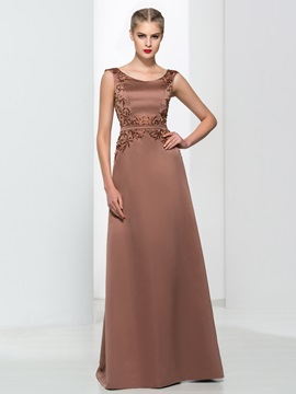 Classy Straps Embroidery Beading Long Evening Dress