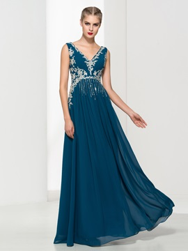V Neck Appliques Sequins Long Evening Dress