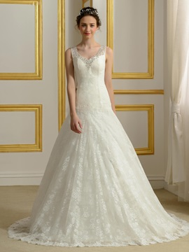 Sequin Beaded V Neck Ivory Lace Wedding Gown