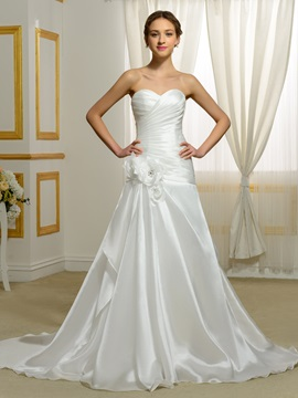Sweetheart Flowers A Line Wedding Dress