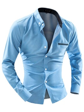 Mini Dots Solid Color Chest Pocket Mens Cotton Blend Shirt