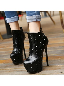 Black Rivets Stiletto Heel Ankle Boots