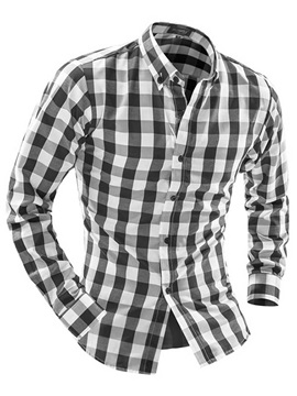 Color Block Plaid Lapel Long Sleeve Mens Shirts