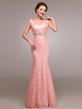 Pretty V Neck Pearls Sheath Lace Evening Dress